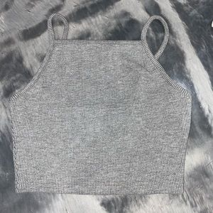 TOP SHOP CROP TANK TOP GREY KNIT
